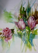 Layer Painting Prints - Roses Print by Donna Acheson-Juillet