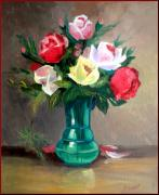 Italian Landscapes Paintings - Roses by Fabio biondi