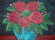 Primitive Pastels Framed Prints - Roses For My Honey Framed Print by Karla Gerard