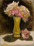 Multicolor Paintings - Roses from a Friend by Billie Colson