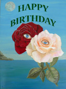 Greetings Card - Roses Happy Birthday by Eric Kempson