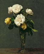 Flora Paintings - Roses in a Champagne Flute by Ignace Henri Jean Fantin-Latour