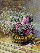 Copper Framed Prints - Roses in a Copper Vase Framed Print by Claude Monet