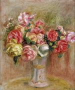 1841 Framed Prints - Roses in a Sevres Vase Framed Print by Pierre Auguste Renoir