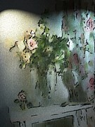 Photo Manipulation Originals - Roses in a Vase by Morgana Blackcat