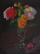 Terry Perham Framed Prints - Roses In Glass 1982 Framed Print by Terry Perham