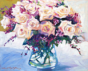Glass Table Prints - Roses In Glass Print by David Lloyd Glover
