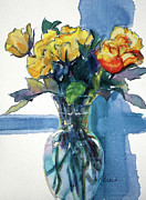 Glass Flowers And Leaves Prints - Roses in Vase Still Life I Print by Kathy Braud