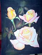 Gold Leave Paintings - Roses by Jacqueline Athmann