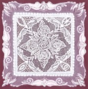 Vintage Wine Mixed Media - Roses-n-Lace Doily by Jenny Sorge