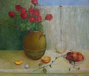 Interior Still Life Painting Metal Prints - Roses On a Clear Day    copyrighted Metal Print by Kathleen Hoekstra
