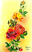 Floral Drawings - Roses on  a yellow wall by Monica  Vega