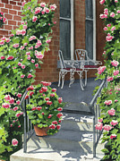Porch Painting Originals - Roses on High St by Marsha Elliott