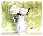 Muted Background Prints - Roses on Lime Print by Marsha Heiken