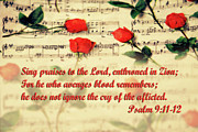 Music Score Photos - Roses on Musical Score Ps. 9 v 11-12 by Linda Phelps