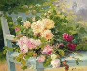 Eugene Posters - Roses on the bench  Poster by Eugene Henri Cauchois