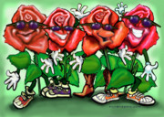 Humorous Paintings - Roses Party by Kevin Middleton