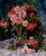 Impressionist Vase Floral Paintings - Roses by Pierre Auguste Renoir