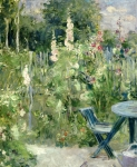 Garden Chair Framed Prints - Roses Tremieres Framed Print by Berthe Morisot
