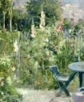 Roses Tremieres Print by Berthe Morisot