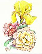 Flowers Mixed Media Posters - Roses with Yellow Iris Poster by Kip DeVore