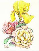 Roses With Yellow Iris Print by Kip DeVore