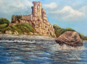 Italian Landscapes Paintings - Roseto Castle by Caterina Frank