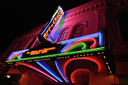 Flick Framed Prints - Roseville Theater Neon Sign Framed Print by Melany Sarafis