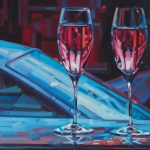 Wine Bottle Art Posters - Rosey Twins Poster by Penelope Moore