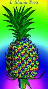 Fanciful Digital Art Metal Prints - Rosh Hashanah Pineapple Metal Print by Eric Edelman