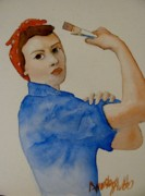 Rosie The Riveter Painting Prints - Rosie Print by Amanda Burek