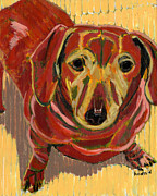 Pet Portraits Paintings - Rosie Friend for Life Unless Youre Wearing a Hat by David  Hearn