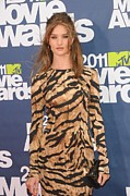 Long Sleeved Dress Posters - Rosie Huntington Whiteley Wearing Poster by Everett