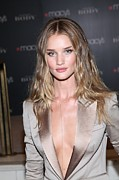 Plunging Neckline Framed Prints - Rosie Huntington-whitely At In-store Framed Print by Everett