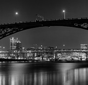 Illuminated Tapestries Textiles - Ross Island Bridge At Night by Zeb Andrews