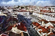 European City Mixed Media - Rossio Square by Dariusz Gudowicz