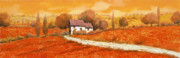 Landscapes Glass Prints - Rosso Papavero Print by Guido Borelli