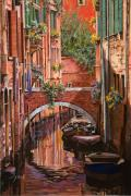 Gondola Framed Prints - Rosso Veneziano Framed Print by Guido Borelli
