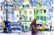 Germany Painting Originals - Rostock Street Scene by John D Benson