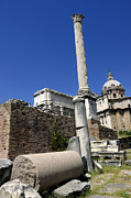 City Scapes Posters - Rostra. Column of Phocas and Septimius Severus arch in the Roman Forum. Rome Poster by Bernard Jaubert