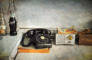 Rotary Dial Phone In Black S And H Stamps Print by Paul Ward