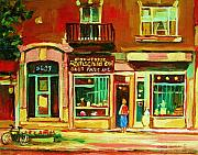 Montreal Sidewalk Terraces Acrylic Prints - Rothchilds Jewellers On Park Avenue Acrylic Print by Carole Spandau