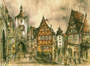 Watercolor  Framed Mixed Media - Rothenburg Bavaria Germany by Peter Art Prints Posters Gallery