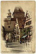 Rothenburg Posters - Rothenburg German Poster by Cecil Fuselier