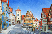 European Painting Framed Prints - Rothenburg Germany Framed Print by Mike Rabe