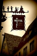Hotel Digital Art - Rothenburg Hotel Sign - Digital by Carol Groenen