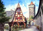 Tower Glass Acrylic Prints - Rothenburg Memories Acrylic Print by Sam Sidders
