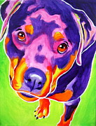 Alicia Vannoy Call Painting Framed Prints - Rottweiler - Summer Puppy Love Framed Print by Alicia VanNoy Call