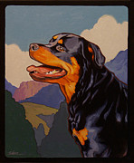 Police Paintings - Rottweiler in Rottweil by Shawn Shea