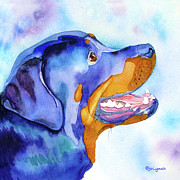 Jo Framed Prints - Rotty Rottweiler Blues Framed Print by Jo Lynch